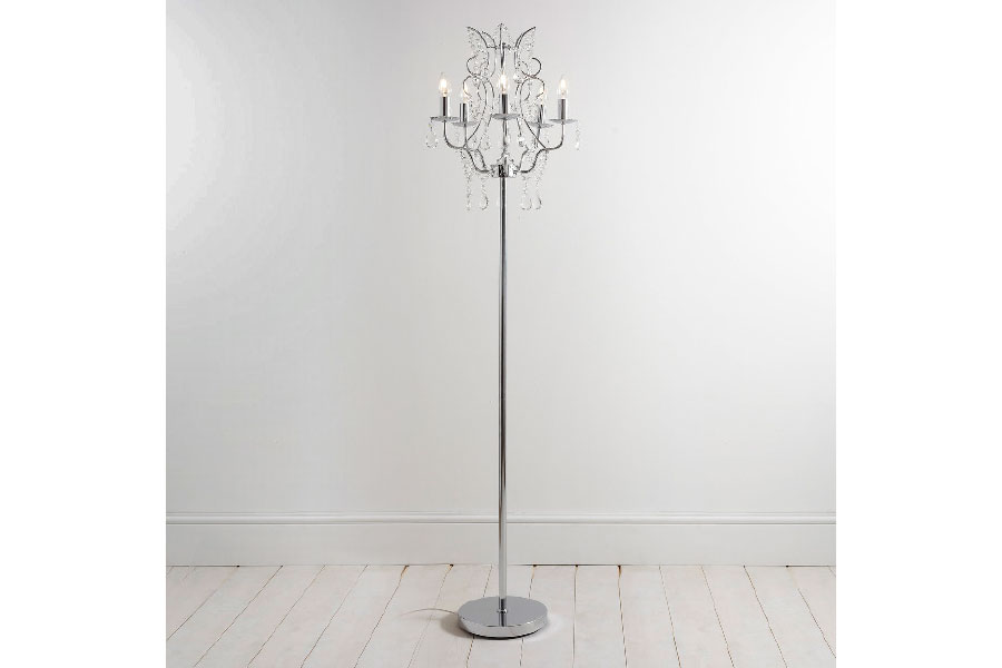 Brik wall grand lamps 200 bhs the hebe chandelier floor lamp has a beaded centre body and is heavily decorated with cut glass crystal swags and droppers mozeypictures Images
